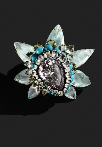 bergdorfgoodman:  Amethyst, aquamarine, turquoise and citrine, in bloom.  Accessorized 2013