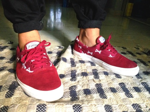 vans era x w)taps burgundy