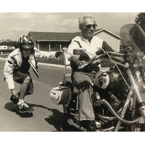 Skitching with Evel Knievel. Follow your dreams and unbelievable things happen. Although nothing could have prepared me for this. - @tonyhawk- #webstagram