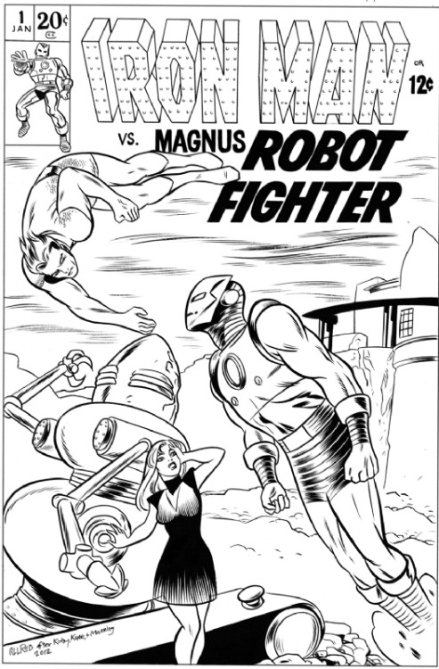 Iron man vs. Magnus Robot Fighter by Mike Allred. ~  Why is this not a thing?  Why?