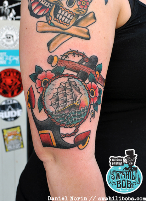Traditional anchor and ship tattoo by Daniel NorinView Post