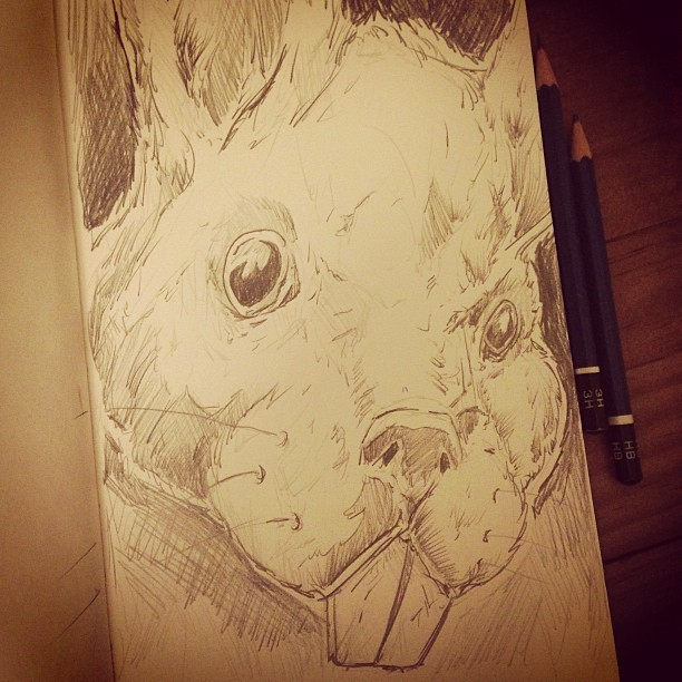 Quick rabbit sketch before calling it a night.. Not sure why I chose a rabbit exactly. No reference, never drawn one before, it's probably off a bit.. but it was fun either way. Cheers!