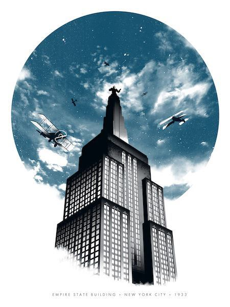"Poster Per Diem: Justin Van Genderen's ""New York 1933"" Art Print  I've had my eye on this print for a while now and am thoroughly impressed with just how powerfully the artist conveys the epic-ness of the original King Kong. I picture a 1933 audience being absolutely spellbound by Willis O'Brien's stop-motion wizardry. I'm also a huge fan of how Van Genderen's composition canonizes not only the giant gorilla, but more importantly, the Empire State Building and its place in film history.  Click here to read more 