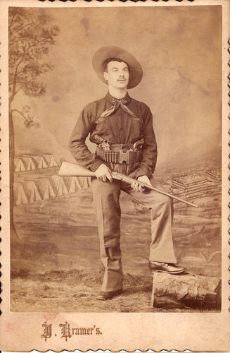 ca. 1870-90's, [cabinet card, portrait of a heavily armed western gent], Kramer via Carl Mautz Vintage Photography & Publishing, Cabinet Cards