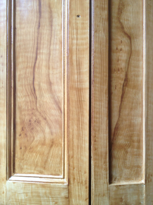 Wood grained window shutters