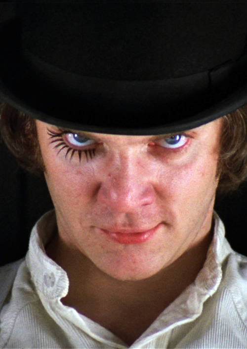 "vintagegal:  A Clockwork Orange (1971) ""There was me, that is Alex, and my three droogs, that is Pete, Georgie, and Dim, and we sat in the Korova Milkbar trying to make up our rassoodocks what to do with the evening. The Korova milkbar sold milk-plus, milk plus vellocet or synthemesc or drencrom, which is what we were drinking. This would sharpen you up and make you ready for a bit of the old ultra-violence."""