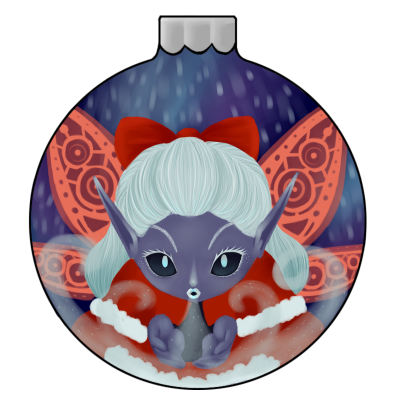 Snow fairy bauble drawn for Avarde's bauble event <: I haven't drawn something in a while, and it feels great to finish something! uwu