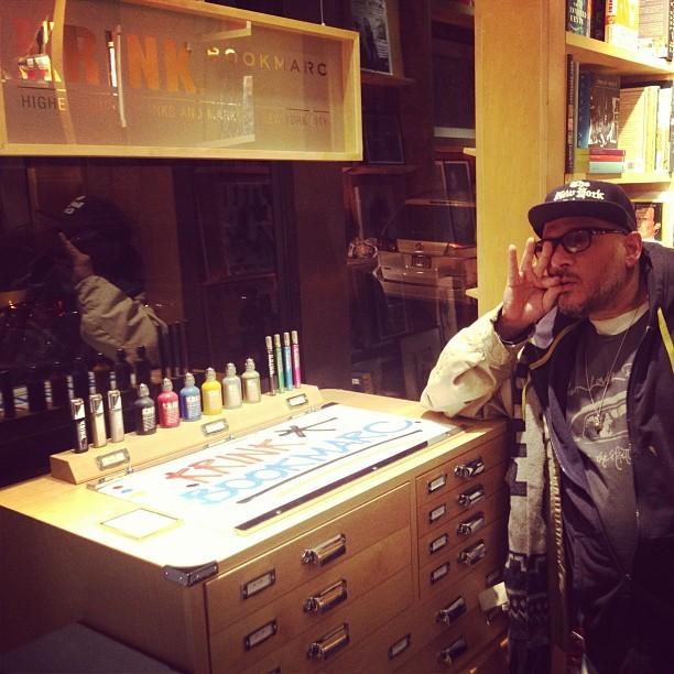 Bumped into Ricky Powell at Bookmarc in the West Vil. Check out the new Krink x Bookmarc display and try the markers out. Also some great vintage punk books on display. @marcjacobsintl