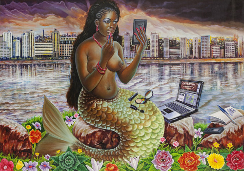 fuckyeablackart:  JP Mika, Mami Wata, 2012:: Check out our Black Mermaid section HERE! ::