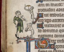 monkey musicAlphonso Psalter, London ca. 1284, decorations added in the early 14th century. British Library, Add. 24686, fol. 17v