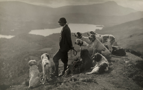 lecollecteur:  Dogs help a Scottish gamekeeper keep watch in Aberfoyle, Scotland, March 1919.Photograph by William Reid, National Geographic