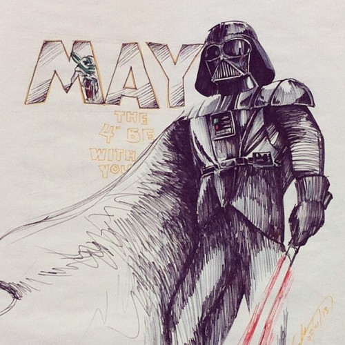 This is my monthly drawing for work, for May….may the fourth be with you! #starwars #art #darth #vader #yoda