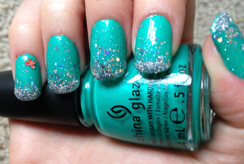 China Glaze Turned Up Turquoise and Hard Candy Celebrate Sequins