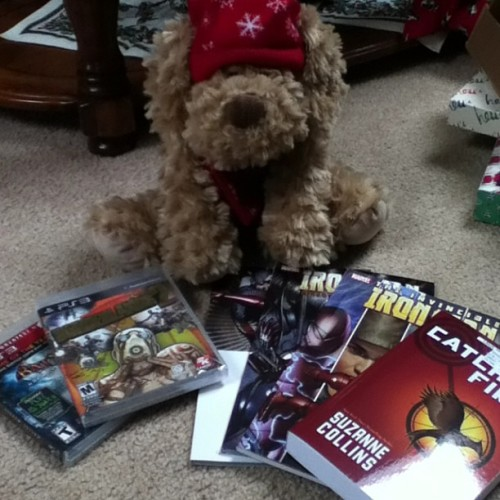 The best of the presents: Iron Man comics, Borderlands 2, Arkham Asylum, Catching Fire, and a Christmas puppy!