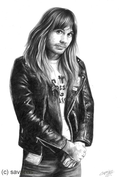 My drawing of Bruce Dickinson is finished! I finished it pretty quickly, about 4 hours I would say. It's not my best drawing, but I kinda like it. Hope you like it too! :] Medium: graphite pencils 7B, 8B and 9B, mechanical pencil and white gel pen on A4 bristol paper.  *original on sale, contact me if interested*