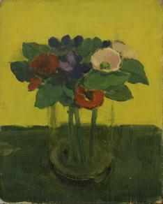 Albert York, Flowers in Glass Jar, 1971. Oil on plywood, 10 1/2 x 8 3/8 inches.