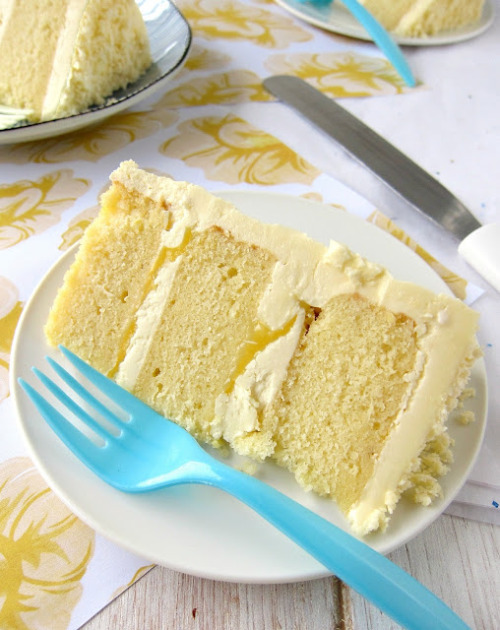 bakeddd:  lemon layered cake with white chocolate frosting click here for recipe