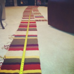 "So this happened today. 18' 2"". UNBLOCKED. #tombakerscarf #knitting"