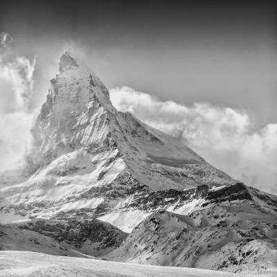 tonyharrattphotography:  The Matterhorn, Switzerland… I'd spent all morning waiting for the cloud to clear and as I packed up my kit to go off the mountains this stunning vista presented itself. My favourite Alpine mountain…