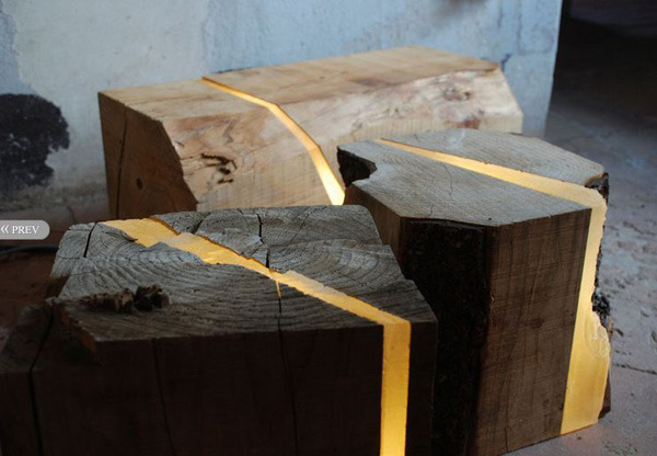 Repurposed Wood Used To Create Light-Filled Furniture