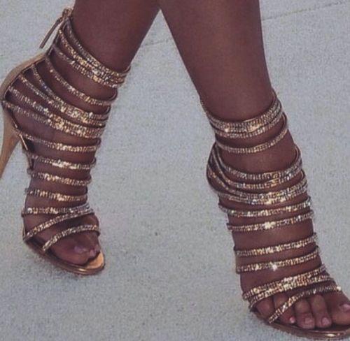 Sexy gold platform shoes