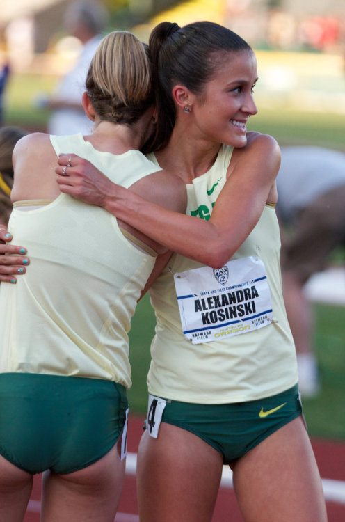 prefontainorade:  EUGENE, OREGON-5/12/12—Alex Kosinski hugs teammate Bronwyn Crossman after Kosinski won the women's 10,000 meter run with a time of 34:19.67 on the first day of Pac-12 championship competition at Hayward Field in Eugene. Photo by Randy L. Rasmussen/The Oregonian    via: http://photos.oregonlive.com/photo-essay/2012/05/pac-12_track_field_championshi.html