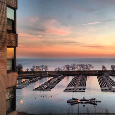 Which window reflects your mood?   #sunrise #chicago #lizharbor5