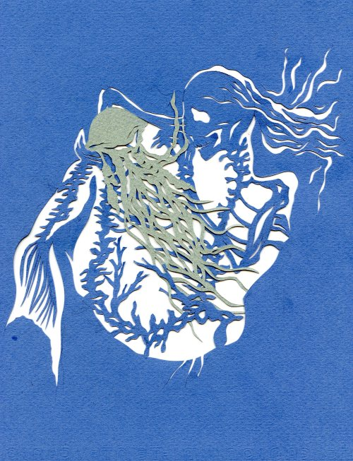 what mermaid ate, paper cut, 2013 bone a day   inkhead