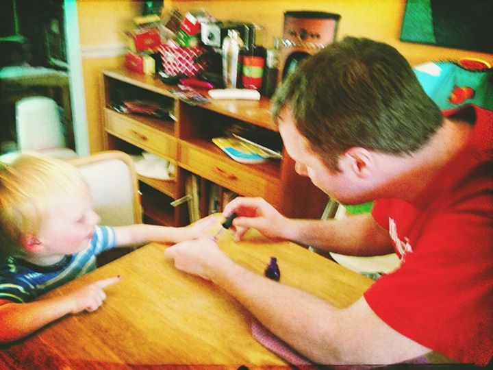 How I spent my day off: painting my son's fingernails.