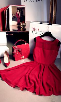 red girl fashion dress shoes bag vermelho vestido