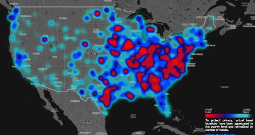 wilwheaton:  fastcompany:  Floating Sheep's map charting hate tweets, which allows you to search on several flavors of hate, is a creative use of data and mapping to raise awareness.  This should probably be corrected for population density, but boy does Appalachia look like a hateful and backwards place.  Look! We're extremely hateful here.