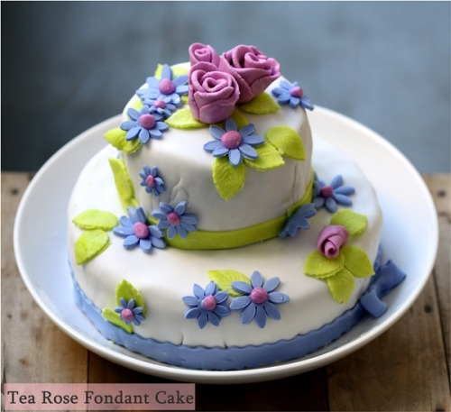 Tea Rose Fondant Cake … A lighter version of the classic pound cake, the Tea Rose Fondant Cake is sandwiched with a light confetti butter cream.