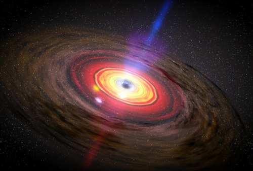 Monster Black Holes Grow Surprisingly Fast     Giant black holes are famous for their appetites, but these matter-munching monsters are even greedier than scientists once thought, a new study suggests.      Image: This image depicts three hot blobs of matter orbiting a black hole. If placed in our Solar System, this black hole would appear like a dark abyss spread out nearly as wide as Mercury's orbit. And the three blobs (each as large as the Sun) would be as far out as Jupiter. They orbit the black hole in a lightning-quick 20,000 miles per second, over a tenth of the speed of light. Credit: NASA/Dana Berry, SkyWorks Digital       The supermassive black holes that lurk at the center of most (if not all) galaxies are growing surprisingly quickly, the study found. The result implies that these cosmic behemoths are sustained primarily by frequent small meals rather than rare and dramatic galactic mergers, as was previously believed.      Supermassive black holes are almost incomprehensibly huge, with some containing 10 billion or more times the mass of our own sun. The research team used computer simulations to investigate how such black holes grow, especially in spiral galaxies like the Earth's Milky Way.