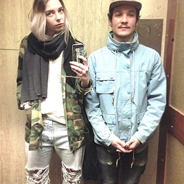 Wearing: American Apparel scarf, Vintage Camo utility jacket, Violette NYC tee, and Vintage distressed wranglers. Brad is wearing a Velour jacket, Nudie jeans, and Supreme Cap(taken with instagram)