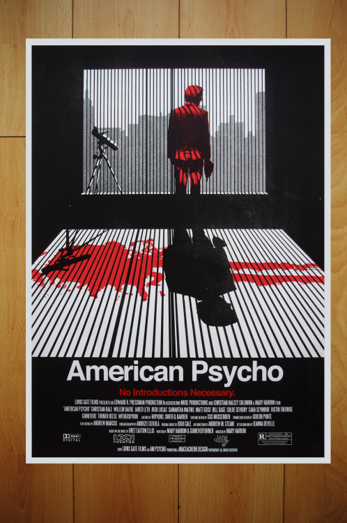 American Psycho alternative movie poster designed by Ryan MacEachernSilkscreen prints available here