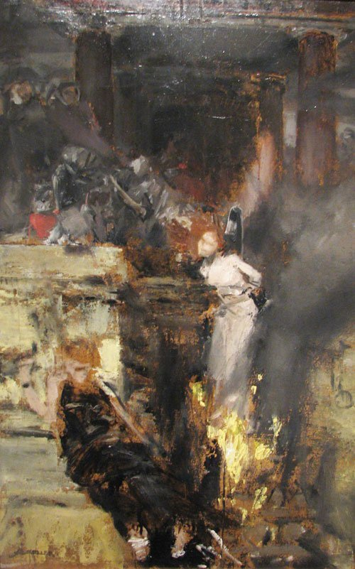 denisforkas:  Albert von Keller - Study for Burning of a Witch. N.d.