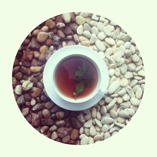 Morning tea, with my mom~ #morning #tea #indonesia #indonesian #stones #terracotta #marmer #white #cup #of #tea