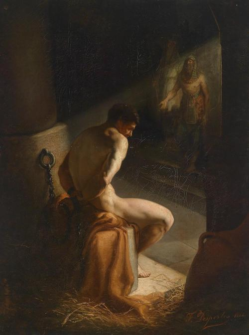 peril:  Joseph in the Cellar (1868), oil on canvas| artwork by Francisque Desportes