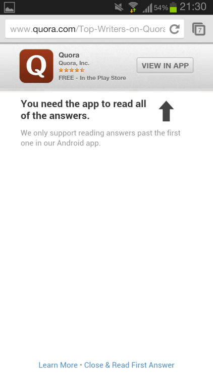 idontwantyourfuckingapp: Quora's #doorslam won't even let you read more than one fucking answer without their fucking app. What's the fucking point in that? I want to use your fucking site and you're pushing me the fuck away. Fuckstains. I don't want your fucking app.