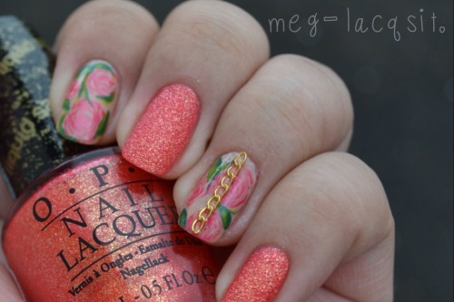 "meg-lacqsit:  {Inspired by Sara of @mynailsaredope} She's always been one of my favs! I love Sara's (flawless) florals. IMO, no one can do 'em like her. If you don't know who she is or haven't checked out her work, get on that now! And Oh. My. Gosh! OPI's ""Jinx"" is thee most beautiful color (I never get tired of saying it… so, thank you again, Emmie! xx). Photos and words simply cannot do this color justice. This is currently my fav liquid sand polish. I honestly believe that everyone NEEDS this in their stash! lol. Colors used (all OPI): -Jinx -Coney Island Cotton Candy -Don't Pretzel My Buttons -Come to Poppy -Jade Is The New Black -Who The Shrek Are You?"
