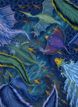 Illustration art birds artist underwater fish ocean oil painting rosekalogerakis