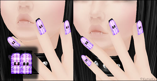 Pastel Goth Purple Nails - w/ Ruby Bow and Eyeball BowVery Limited: 5/5 Left | Price: 10,000 credits.2 flat PNG and 1 layered PSD textures, 15 layers w/ 2 shine and bow options. 64x128 in size. Fits most standard nail meshes. Recommended mesh: ~click~Easy to recolor and change to your liking!  Purchase at http://www.filessalesforum.com/t1295-kkx-hand-stitched-new-pastel-goth-purple-nails-w-ruby-bow-eyeball-bow-optionsI also take orders by PM. http://avatars.imvu.com/KatieKx