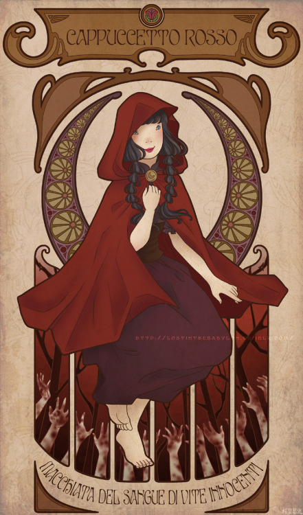 Little Red Riding HoodStained with blood of innocent lives  You may remember when I posted a pencil sketch of this drawing a couple of weeks ago, so here it is the completed version! This drawing was done for the 5th number of Eclisse, a self-published magazine done by young artists which contains drawings, comics, illustrations, photos, articles, poetry, etc etc. The theme of number 5 was Little Red Riding Hood. My first idea was a reworked version of the story in a small comic about how this girl would turn the innocence of her younger days in sin and cruel actions by killing the ones who stood on her way, and so staining herself in the red of their blood. A little grim for a childhood tale I know. Unfortunately I couldn't complete this project, so I tried to sum this story in one single illustrations which was also my first attempt with art nouveau style.  Per gli italiani, la rivista è in vendita al Torino Comics fino a stasera, fate un salto al quartiere giapponese a dare un'occhiata allo stand di Eclisse se potete~ :3