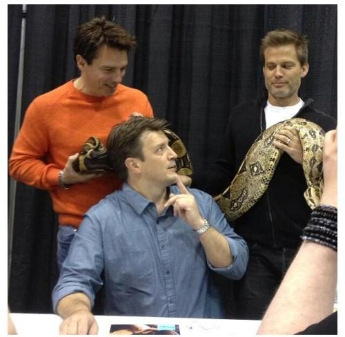 torchwood4fans:  John, Casper and Nathan! Nerdgasm!! :D From: https://twitter.com/mcaunaul/status/328544453071605760/photo/1
