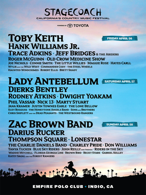 Here's an updated lineup for Stagecoach Festival in Indio. I play solo SATURDAY 4/27 on the Palomino Stage, I'll also be signing at the Zia Records Pop-up store!