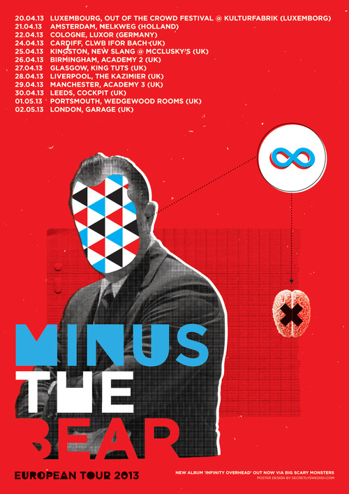 New poster design for Minus The Bear's upcoming European tour.