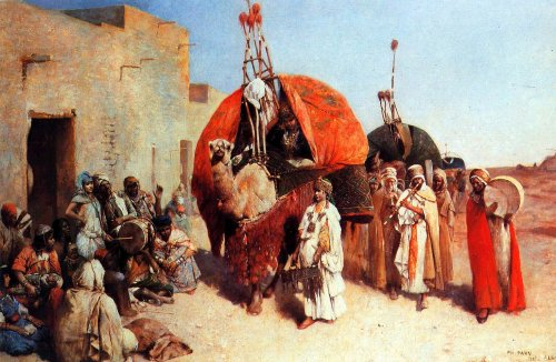 orientalistpaintings:  Bride arriving in a village Biskra, Algeria by Philippe Pavy,