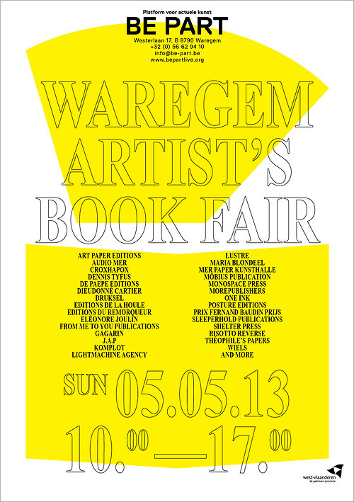 Waregem Artist's bookfair http://bit.ly/11zxDaM