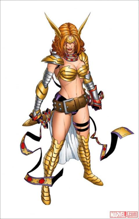 brianmichaelbendis:  Behold Angela's new look by Marvel CCO Joe Quesada! What Marvel characters do you want to see her meet?  how about a tailor, someone forgot to give her clothes