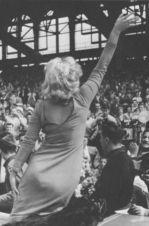 Marilyn photographed at Ebbets Field in 1957